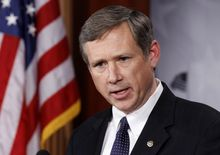 **FILE** Sen. Mark Kirk, Illinois Republican, talks to the media Dec. 16, 2010, on Capitol Hill. (Associated Press)