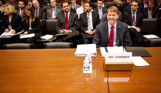 """Look, in my lifetime the single thing that hurt people most was the financial crisis,"" Consumer Financial Protection Bureau Director Richard Cordray tells the House Committee on Oversight and Government Reform. ""I think we can help head that off in the future."" (Andrew Harnik/The Washington Times)"