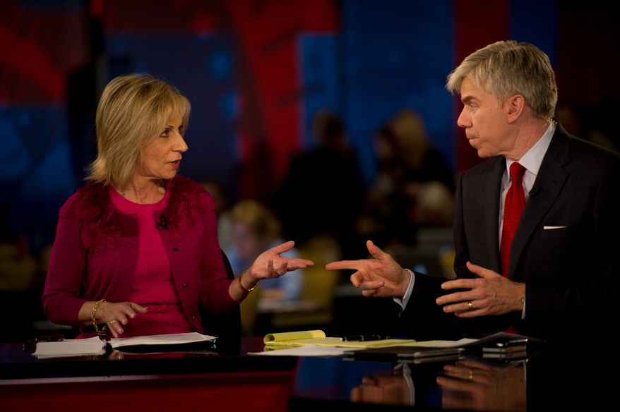 NBC's Dave Gregory (right) and Andrea Mitchell chat in the spin room during the Republican Candidates Debate at the University of South Florida in Tampa, Fla., Monday, Jan. 23, 2012. (Rod Lamkey Jr./The Washington Times) ** FILE **