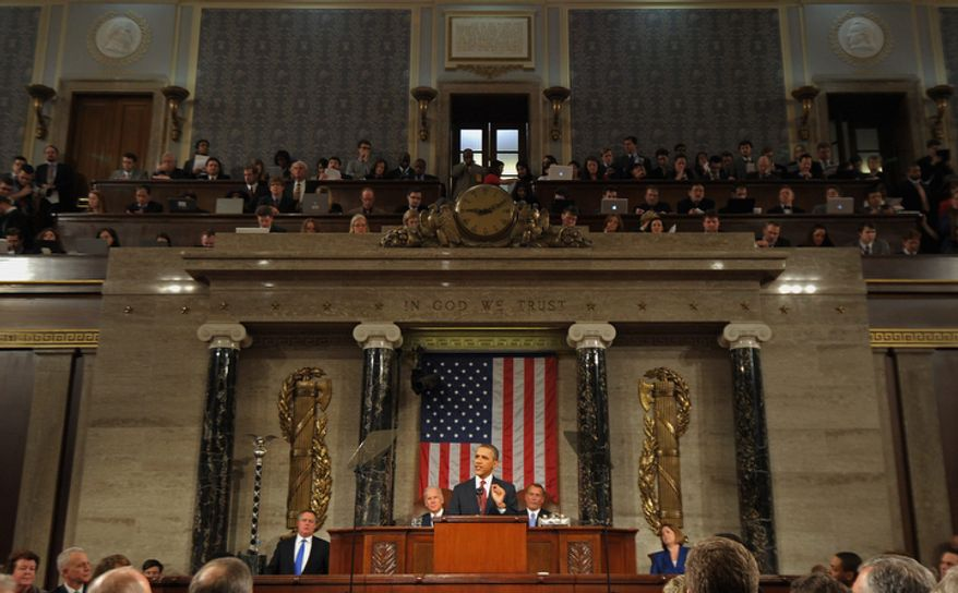President Barack Obama delivers his State of the Union address on Capitol Hill. (AP Photo/Saul Loeb, Pool)