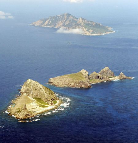 **FILE** The string of islands known as Senkaku islands in Japanese, and Diaoyu in Chinese, are seen here Sept. 29, 2010. Relations between China and Japan were strained when a Chinese fishing boat collided with Japanese patrol vessels earlier that month near the islands in the East China Sea that are claimed by both countries as well as Taiwan. (Associated Press)