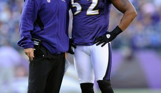 Chuck Pagano, shown with Baltimore linebacker Ray Lewis, will coach an Indianapolis team that has the No. 1 overall draft pick in April. (Associated Press)