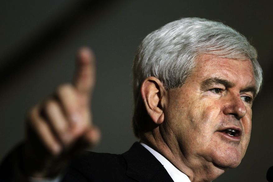 Republican presidential candidate and former House Speaker Newt Gingrich speaks Jan. 24, 2012, during an event at the Cambier Park Bandstand in Naples, Fla. (Associated Press)
