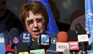 European Union foreign policy chief Catherine Ashton speaks at a press conference in Gaza City, Gaza Strip, on Wednesday, Jan. 25, 2012. Ms. Ashton is on a three-day visit to Israel and the Palestinian territories as part of her ongoing efforts to encourage the two sides to resume negotiations. (AP Photo/Hatem Moussa)