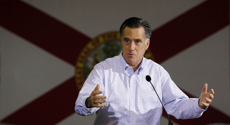 Republican presidential candidate and former Massachusetts Gov. Mitt Romney campaigns Jan. 25, 2012, at American Douglas Metals in Orlando, Fla. (Associated Press)