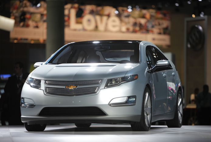 **FILE** The 2011 Chevrolet Volt debuts Dec. 2, 2009, at the Los Angeles Auto Show in Los Angeles. (Associated Press)