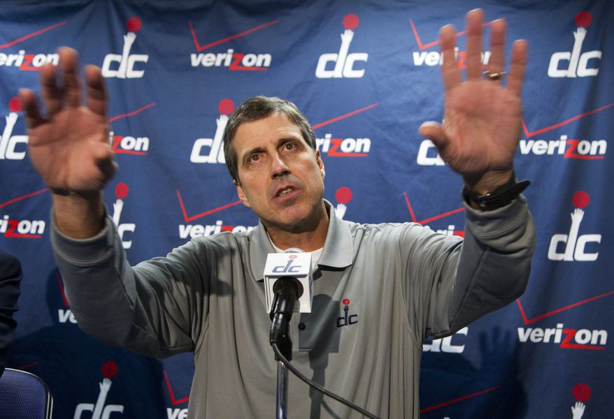 Washington Wizards coach Randy Wittman speaks to reporters during a news conference in Washington, Tuesday, Jan. 24, 2012. Wittman replaces Flip Saunders who was fired as coach of the Wizards on Tuesday. (AP Photo/Manuel Balce Ceneta)