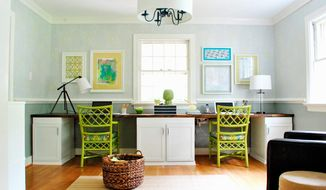 Courtesy of Sherry Petersik Thrift stores and consignment shops can offer low-cost treasures for homeowners looking to brighten up their homes. Sherry Petersik, who writes the YoungHouseLove.com blog with her husband, John, said they made this desk out of second-hand cabinets purchased at the Habitat for Humanity Restore for $1 each.