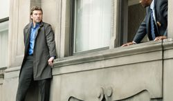 """Sam Worthington isn't suicidal in the B-move thriller """"Man  on a Ledge,"""" but does Anthony Mackie, his former partner on the New  York Police Department, know that? (Summit Entertainment via Associated Press)"""