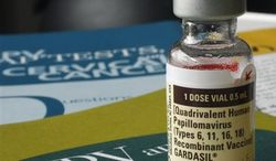 ** FILE ** One dose of the HPV vaccine Gardasil, developed by Merck & Co., is displayed in February 2007 in Austin, Texas. (Associated Press)