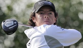Rory McIlroy from Northern Ireland plays a ball on the 17th hole during the first round of Abu Dhabi HSBC Golf Championship, Thursday, Jan. 26, 2012 in Abu Dhabi, United Arab Emirates. (AP Photo/Kamran Jebreili)