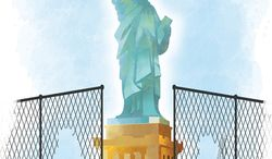 Illustration: Immigration by Linas Garsys for The Washington Times