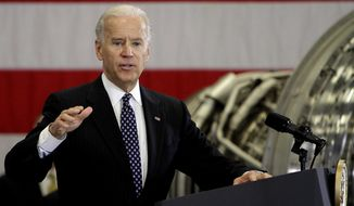 ** FILE ** Vice President Joe Biden talks to workers of a Rochester company that has partnered with a local college, Thursday, Jan. 26, 2012, in Rochester, N.H. (AP Photo/Jim Cole)