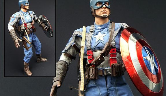 Hot Toys' Captain America: The First Avenger doll features a metallic electroplated shield and detailed costume. (Photograph by Joseph Szadkowski / The Washington Times)