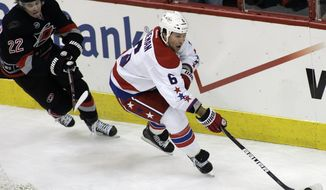 Washington Capitals defenseman Dennis Wideman has nine goals and 25 assists. He'll make his All-Star debut as the Caps' only representative. (AP Photo/Jim R. Bounds)