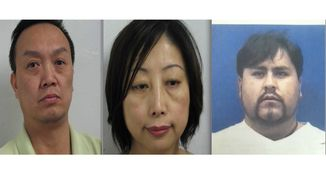 Montgomery County police say (from left to right) Howard Hao Wang, Feng Liu and Mauricio Alex Garcia Guardia operated spas and massage parlors in Rockville that were fronts for prostitution and human trafficking.