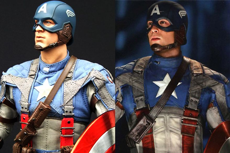 A comparison between Hot Toys' Captain America: The First Avenger doll and Chris Evans, the actor who portrays Captain America in the 2011 live action movie. (Hot Toys photograph by Joseph Szadkowski / The Washington Times; Chris Evans photograph, courtesy Paramount Home Entertainment)