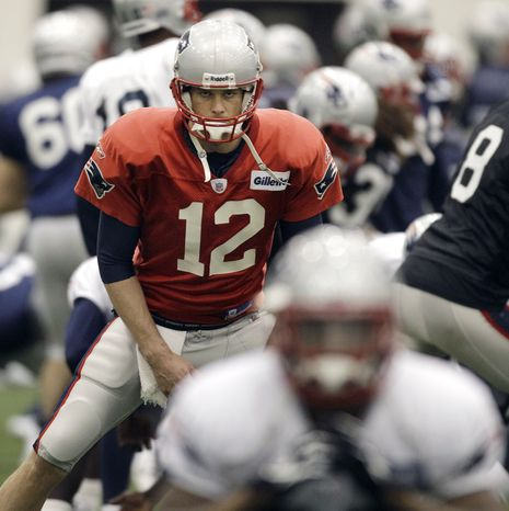 New England Patriots' offensive line will have its hands full keeping quarterback Tom Brady protected in dealing with the New York Giants' pass rush. (AP Photo/Elise Amendola)