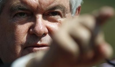 Republican presidential candidate and former House Speaker Newt Gingrich gestures as he campaigns at The PGA Center for Golf Learning and Performance, Saturday, Jan. 28, 2012, in Port St. Lucie, Fla. (AP Photo/Matt Rourke)