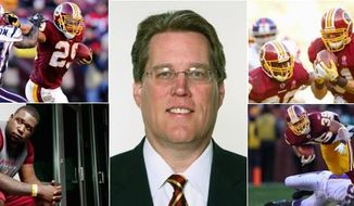 The Redskins' draft in 2011 largely paid dividends, with significant contributions from most of their picks. Roy Helu (top left/Preston Keres/Special to The Washington Times) set a franchise rookie record with three straight 100-yard games.; linebacker Ryan Kerrigan (top right/Andrew Harnik/The WashingtonTimes) returned an interception for a touchdown against the Giants in the opener; Jarvis Jenkins (bottom left/(Preston Keres/Special to The Washington Times) tore an ACL in the preseason but figures prominently in their plans and running back Evan Royster (bottom right/Preston Keres/Special to The Washington Times) was a workhorse down the stretch. 