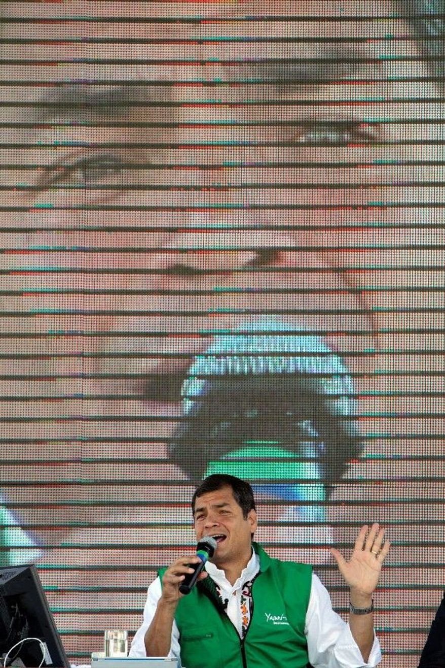 Mr. Correa, seen here holding forth on his weekly program in Quito, Ecuador, is far from Ecuador's first populist leader, but he hasn't been hounded by accusations of corruption that drove previous presidents from office. (Associated Press)