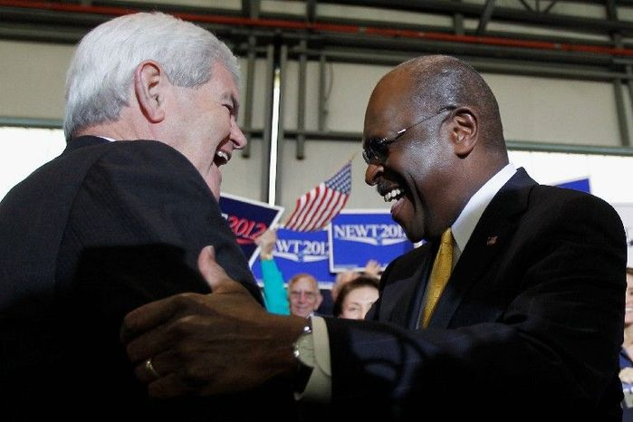 Former House Speaker Newt Gingrich greets former candidate Herman Cain during a campaign stop in Tampa, Fla., on Monday. Mr. Cain has endorsed Mr. Gingrich in the presidential r