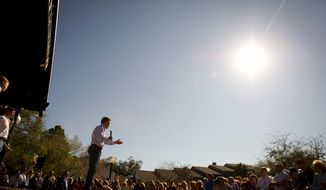 Republican presidential candidate and former Massachusetts Gov. Mitt Romney speaks during a campaign rally at Pioneer Park in Dunedin, Fla., on Jan. 30, 2012, the day before the Florida holds its 2012 GOP presidential primary. (Rod Lamkey Jr./The Washington Times)