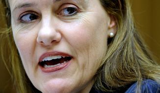 **FILE** Then Defense Undersecretary Michele Flournoy testifies on March 16, 2011, on Capitol Hill. (Associated Press)