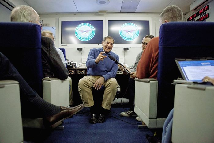 Secretary of Defense Leon E. Panetta briefs reporters Wednesday aboard a plane en route to a NATO defense ministers meeting in Brussels. He called 2013 a critical year for the decade-old U.S. military mission in Afghanistan. (Associated Press)