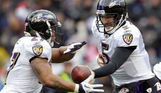 ASSOCIATED PRESS Quarterback Joe Flacco (right) and Ray Rice are integral parts of Baltimore's organization, and Ravens owner Steve Bisciotti plans on keeping them both around for years to come.
