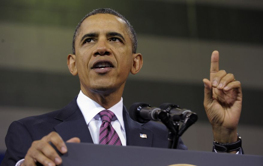 """President Obama, in an appearance at the James Lee Community Center in Falls Church, Va., on Wednesday, Feb. 1, 2012, details his proposal that would allow millions of """"underwater"""" borrowers to refinance home loans.  (AP Photo/Susan Walsh)"""