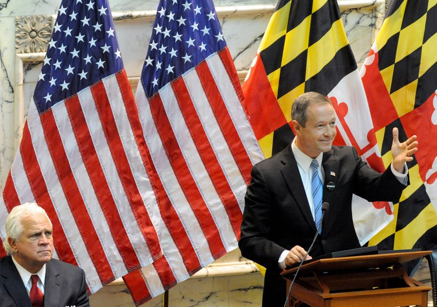 Maryland Governor Martin O'Malley, right, delivers his State of the State speech as Maryland Senate President Thomas V. Mike Miller, left, listens Wednesday, Feb. 1, 2012 in Annapolis, Md. O'Malley urged lawmakers to invest in the future to spur job growth. (AP Photo/Steve Ruark)