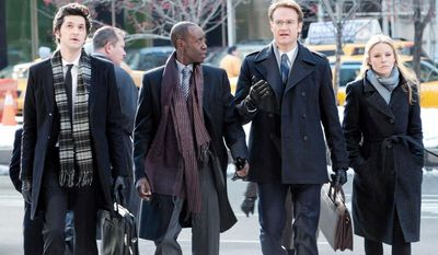 """Don Cheadle plays TV's first black antihero in Showtime's """"House of Lies"""" starring (from left) Ben Schwartz as Clyde Oberholt, Mr. Cheadle as Marty Kaan, Josh Lawson as Doug Guggenheim and Kristen Bell as Jeannie Van Der Hoovenn. (Photo courtesy Showtime)"""