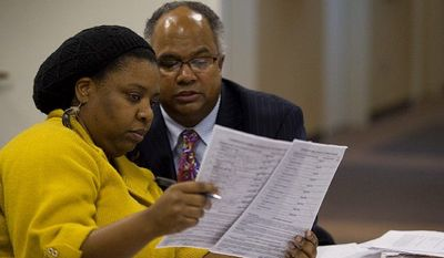 Ward 7 resident Dawn Matthews and assistant Kemry Hughes look over what they consider to be suspect signatures on a petition to add Ms. Alexander's name to the ballot for the ward's primary election. Ms. Matthews is asking the elections board to keep Ms. Alexander's name off the ballot.