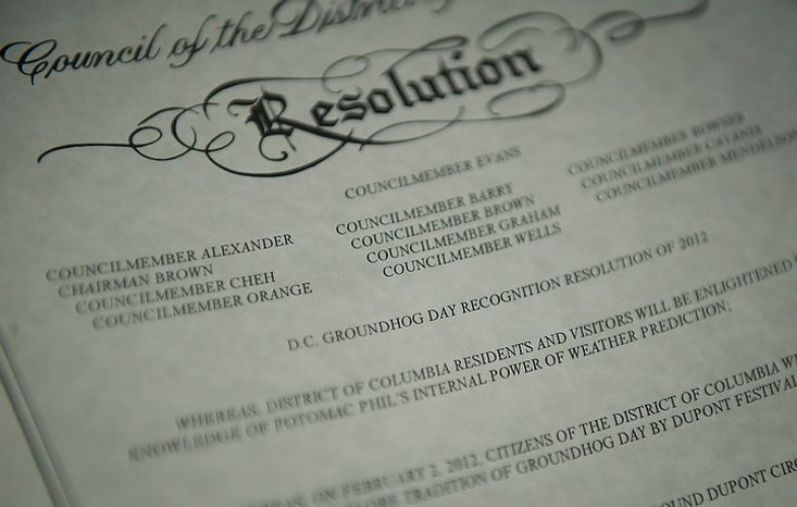 "A copy of the proclamation declaring ""Potomac Phil Day"" is on display during the inaugural Groundhog Day event at Dupont Circle in Washington on Thursday, Feb. 2, 2012. (Rod Lamkey Jr./The Washington Times)"