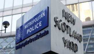 New Scotland Yard is the headquarters of London's Metropolitan Police, Britain's foremost and largest police service. (Associated Press) ** FILE **