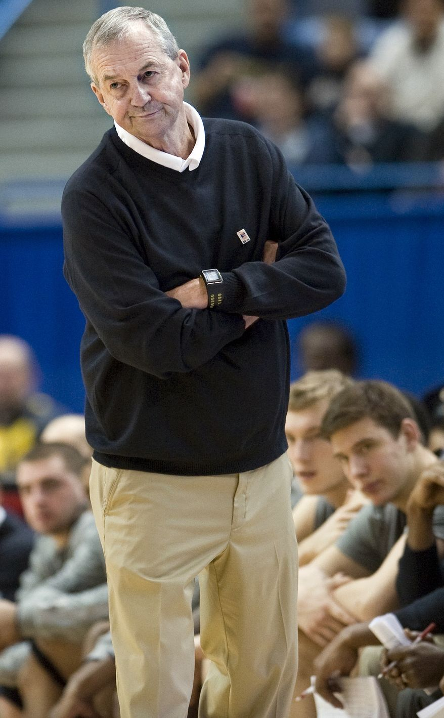 FILE - In this Jan. 29, 2012,, file photo, Connecticut head coach Jim Calhoun watches play in the second half of an NCAA college basketball game against Notre Dame in Hartford, Conn. Calhoun is taking an indefinite medical leave of absence, the school announced Friday, Feb. 3, 2012. The Hall of Fame coach, who turns 70 in May, has been suffering for several months from spinal stenosis, a lower back condition that causes him severe pain and hampers mobility, the school said Friday in a news release. (AP Photo/Jessica Hill, File)
