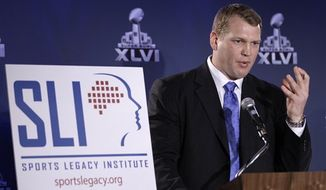 Chris Nowinski, co-founder of the Sports Legacy Institute, talks about a hit count proposal to dramatically reduce youth athletes' exposure to repetitive brain trauma in multiple sports during a news conference at the Super Bowl XLVI media center Friday, Feb. 3, 2012, in Indianapolis. (AP Photo/David J. Phillip)