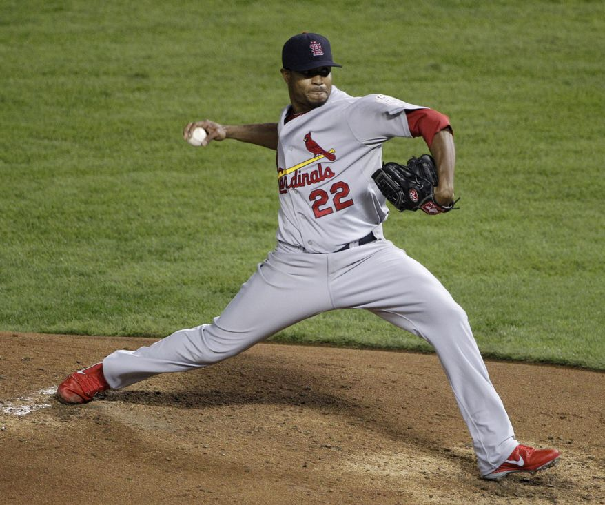 ** FILE ** In this Oct. 23, 2011 file photo, St. Louis Cardinals pitcher Edwin Jackson throws during the second inning of Game 4 of thes World Series against the Texas Rangers. Jackson agreed Thursday, Feb. 2, 2012, to a one-year contract with the Washington Nationals. (AP Photo/Tony Gutierrez, File)