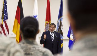 Defense Secretary Leon Panetta speaks Feb. 3, 2012, to service members at Ramstein Air Base in Germany. (Associated Press)