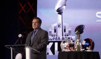 New England Patriots head coach Bill Belichick speaks during a news conference for NFL football's Super Bowl XLVI Friday, Feb. 3, 2012, in Indianapolis. (AP Photo/David J. Phillip)