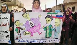 """In this citizen journalism image provided by the Local Coordination Committees in Syria and released Wednesday, Feb. 1, 2012, an anti-Syrian regime protester, holds a poster with caricature depicting the Russian Prime Minister Vladimir Putin, left, and Iranian supreme leader Ayatollah Ali Khamenei, 2nd left, pumping up their ally Syrian President Bashar Assad, centre, as she walks during a demonstration in Idlib Province, north Syria. Russia's deputy defense minister says Moscow will not stop arms sales to Syria. Russian state news agencies quoted Deputy Defense Minister Anatoly Antonov on Thursday as saying Russia is not violating any international obligations. Arabic on the poster reads, """"free people of occupied Kfarnebel."""" (AP Photo/Local Coordination Committees in Syria)"""
