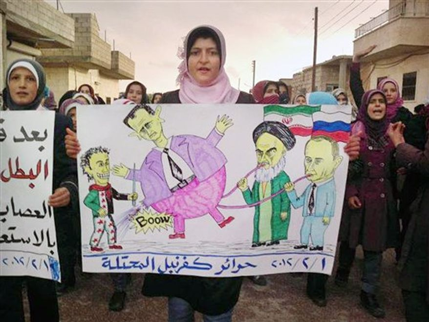 "In this citizen journalism image provided by the Local Coordination Committees in Syria and released Wednesday, Feb. 1, 2012, an anti-Syrian regime protester, holds a poster with caricature depicting the Russian Prime Minister Vladimir Putin, left, and Iranian supreme leader Ayatollah Ali Khamenei, 2nd left, pumping up their ally Syrian President Bashar Assad, centre, as she walks during a demonstration in Idlib Province, north Syria. Russia's deputy defense minister says Moscow will not stop arms sales to Syria. Russian state news agencies quoted Deputy Defense Minister Anatoly Antonov on Thursday as saying Russia is not violating any international obligations. Arabic on the poster reads, ""free people of occupied Kfarnebel."" (AP Photo/Local Coordination Committees in Syria)"