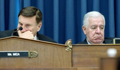 Rep. John L. Mica (left), Florida Republican, said the $260 billion transportation bill he introduced would create jobs and improve deteriorating infrastructure. Rep. Nick J. Rahall II, West Virginia Democrat (right), said it doesn't go far enough. (Associated Press)