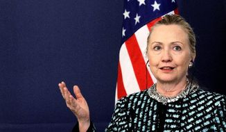 Secretary of State Hillary Rodham Clinton speaks Sunday in Sofia, Bulgaria, where she says the international community must stop the bloodshed in Syria. (Associated Press)