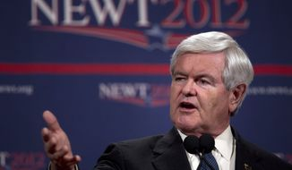 ** FILE ** Republican presidential candidate Newt Gingrich speaks during a news conference on Saturday, Feb. 4, 2012, in Las Vegas. (AP Photo/Evan Vucci)