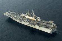 ** FILE ** The USS Bonhomme Richard steams off the coast of Sumatra, Indonesia, while conducting humanitarian assistance in June 2005. (AP Photo/Wong Maye-e, File)