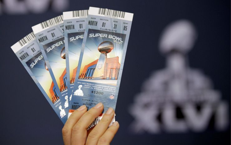 Super Bowl tickets were in big demand by both resellers and fans before the game Sunday in Indianapolis. (Associated Press)