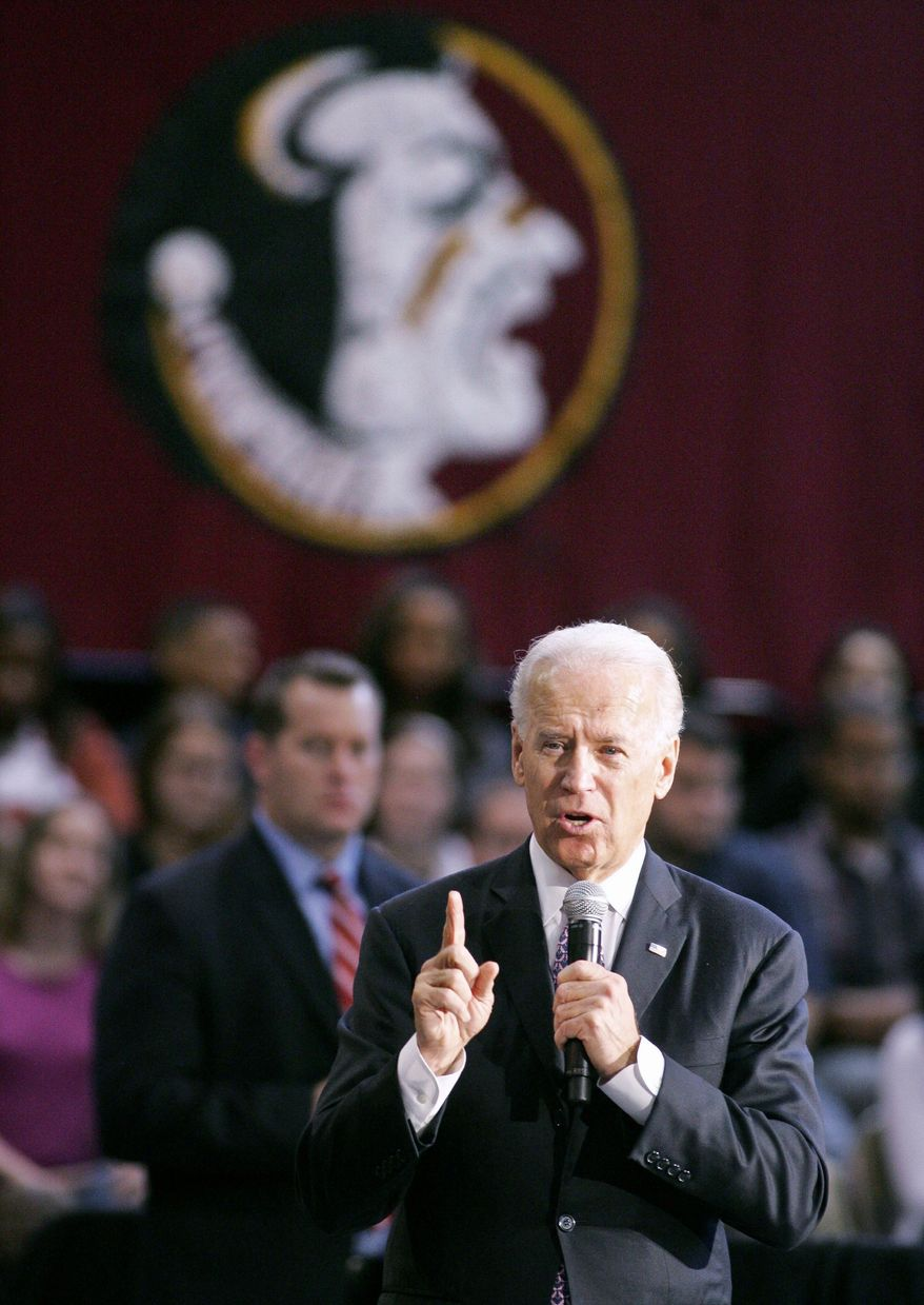 Vice President Joseph R. Biden speaks Monday at Florida State University in Tallahassee in support of the Obama administration's proposal to cap college tuition. (Associated Press)