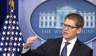 White House press secretary Jay Carney speaks Feb. 6, 2012, during the daily briefing with reporters at the White House. (Associated Press)